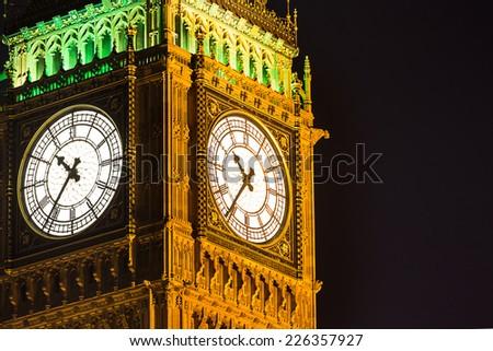Big Ben at night London United Kingdom uk - stock photo