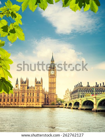 Big Ben at summer in London, UK - stock photo