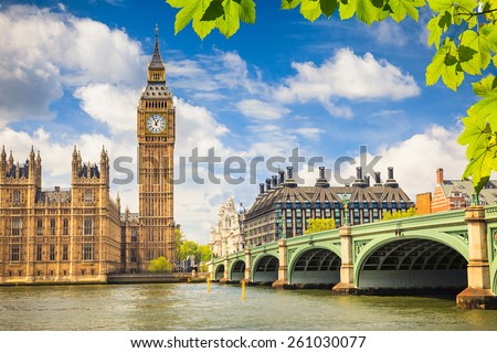 Big Ben at summer, London - stock photo