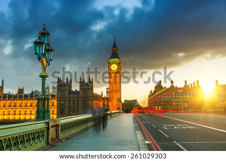 Big Ben at sunset in London, UK - stock photo