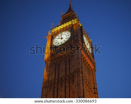 Big Ben at the Houses of Parliament aka Westminster Palace at night in London, UK - stock photo