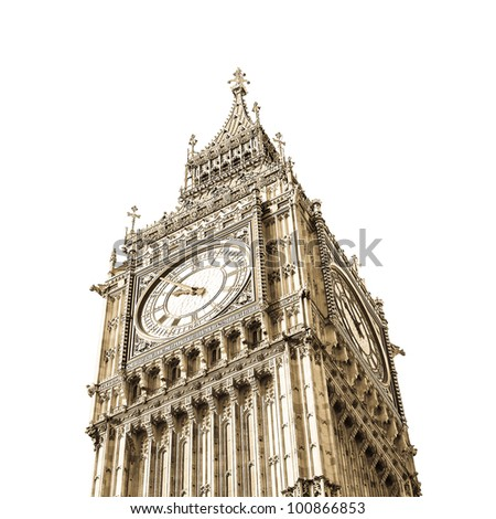 Big Ben at the Houses of Parliament, Westminster Palace, London, UK - isolated over white with copy space - stock photo