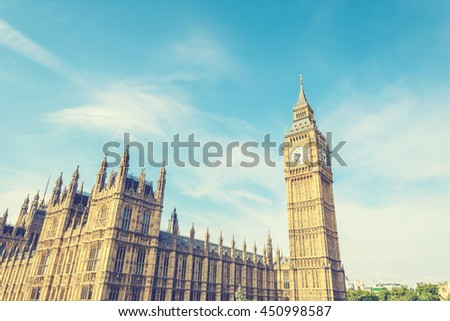 Big Ben Clock Tower and House of Parliament, London, England, UK, with vintage effect - stock photo