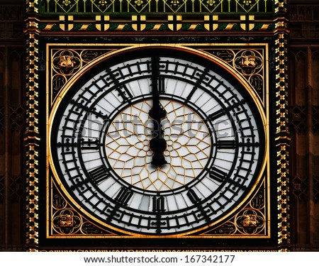 Big Ben clock tower midnight - twelve, London - stock photo