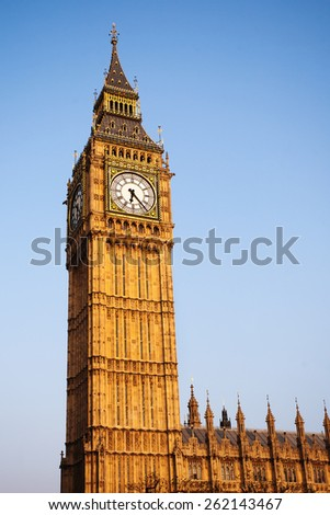 Big Ben Clock Tower with Blue Sky, England, United Kingdom. - stock photo