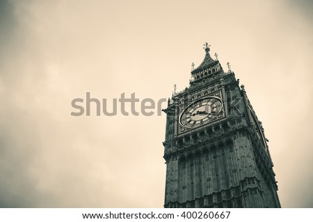 Big Ben closeup in black and white in Westminster, London. - stock photo