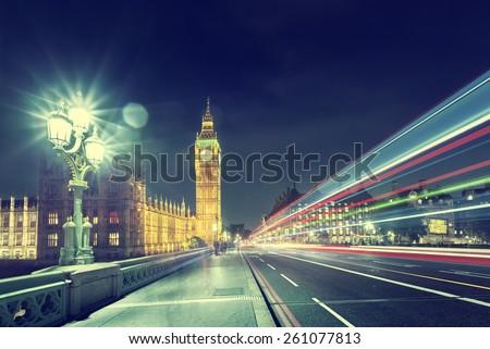 Big Ben from Westminster Bridge, London - stock photo