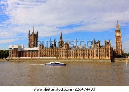 big ben, houses of parliament and ferry, london - stock photo