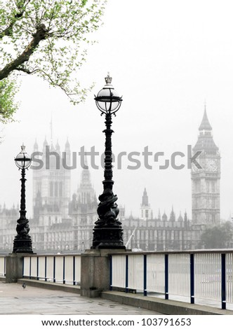 Big Ben & Houses of Parliament, idyllic view - stock photo