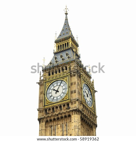 Big Ben, Houses of Parliament, Westminster Palace, London gothic architecture - isolated over white background - high dynamic range HDR - stock photo