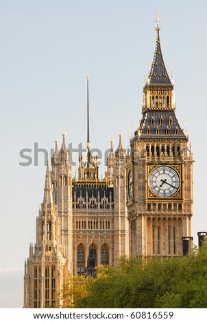 Big Ben, Houses of Parliament, Westminster Palace, London - in the late afternoon sun - stock photo