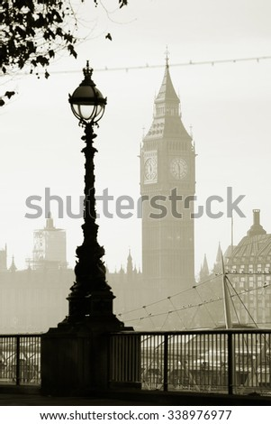 Big Ben in fog seen from South Bank  - stock photo