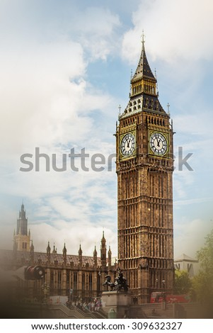 Big Ben in London, UK. Image with selective focus and effects - stock photo