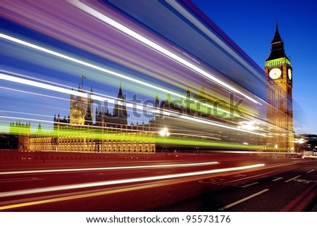 Big Ben in London with traffic. Long exposure with movement - stock photo