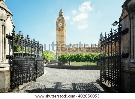 Big Ben in sunny day, London - stock photo