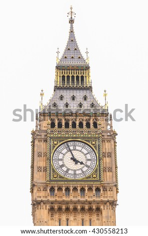 Big Ben in Westminster, London, on white - stock photo