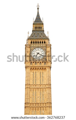 Big ben isolated on white, clipping path included - stock photo
