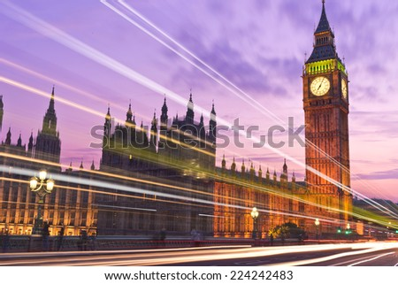 Big Ben London England Sunset and Bus and Car Light Trails - stock photo