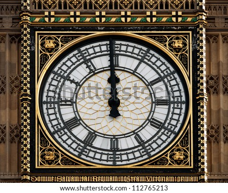 Big Ben, London UK - new year, high noon or time running out concept - stock photo