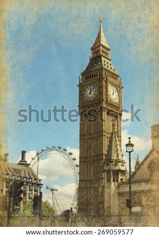 Big Ben, London, UK. View from Abingdon street.  Photo in  grunge and retro style.  Added paper texture - stock photo