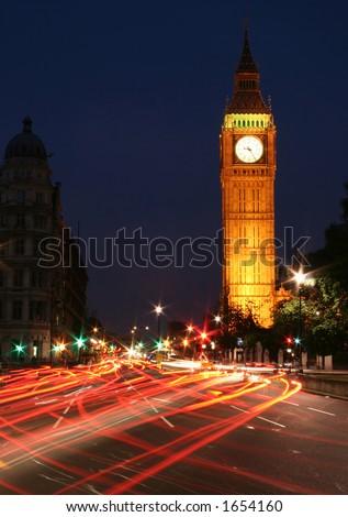 Big Ben night traffic - stock photo