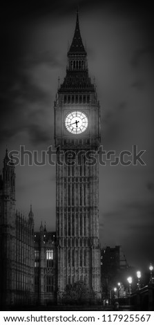 big ben shot in black and white - stock photo