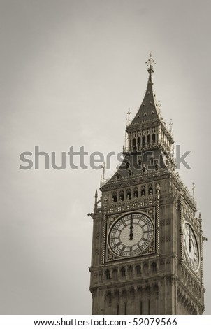 Big Ben symbol of London at Noon - stock photo