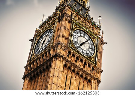 Big Ben, the bell of the clock close up. The famous icon of London, England, the UK.  - stock photo