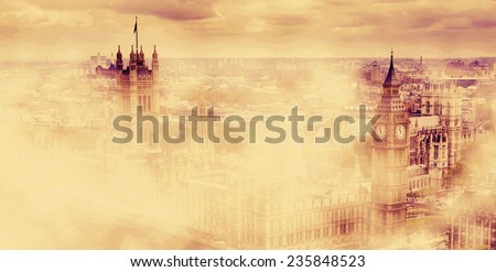 Big Ben, the Palace of Westminster in deep morning fog. London, the UK. Panorama - stock photo