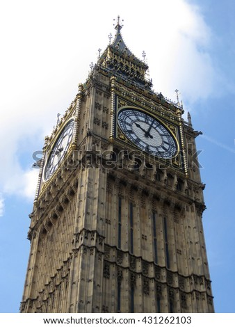 Big Ben tower - most famous tourist attraction in London, Great Britain. - stock photo