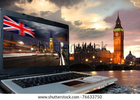 Big Ben with Big Ben on screen of notebook, London, UK - stock photo
