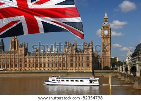 Big Ben with boat in London, UK - stock photo