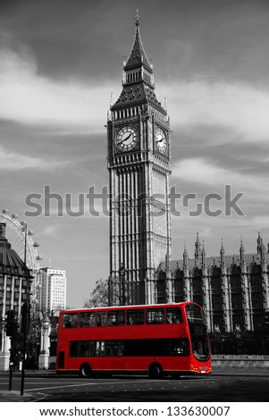 Big Ben with city bus in  London, UK - stock photo