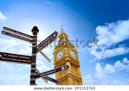 Big Ben with street signs in London, United Kingdom - stock photo