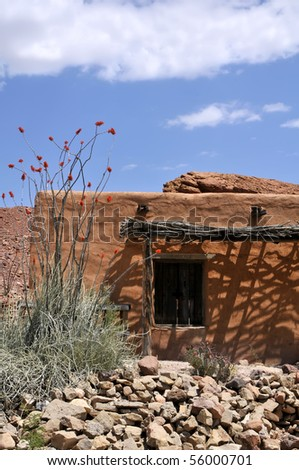 Big Bend Ranch State Park Adobe Building with Ocotillo Cactus in Bloom Vertical With Copy Space - stock photo