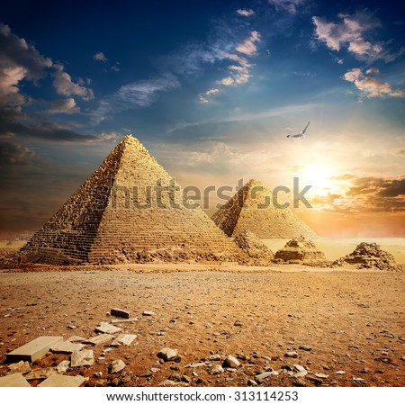 Big bird over pyramids at the sunset - stock photo