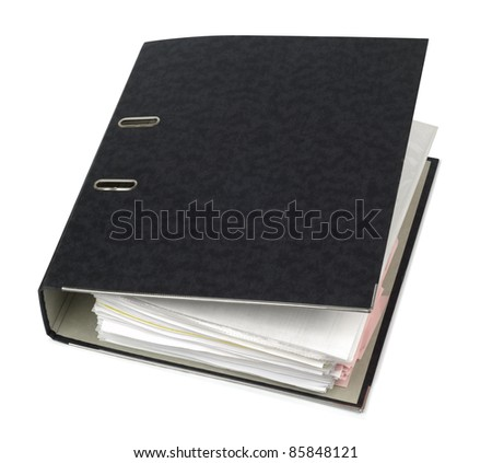 Big black account folder isolated with clipping path on white background - stock photo
