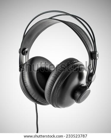 big black head phones, studio audio gear - stock photo