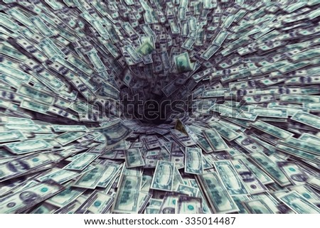 Big black hole that sucks much money - stock photo