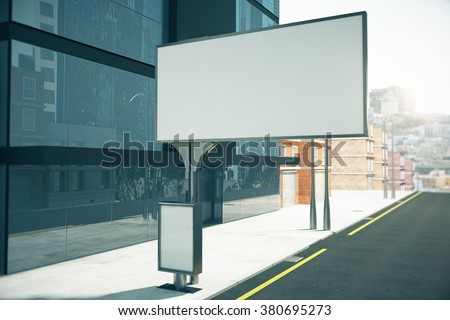 Big blank billboard and small blank poster on city street close to business center, mock up 3D Render - stock photo
