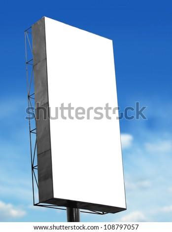 Big blank billboard on blue sky background - stock photo