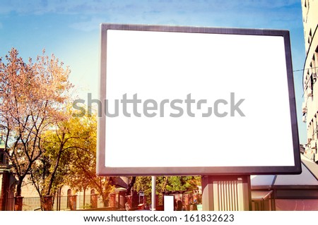Big blank billboard on the city streets - stock photo