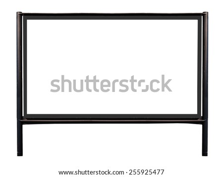 Big blank billboard on two pillars isolated on white - stock photo