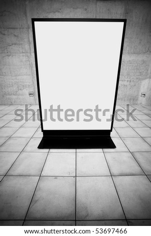 Big blank frame in powerful black and white concrete scene - stock photo