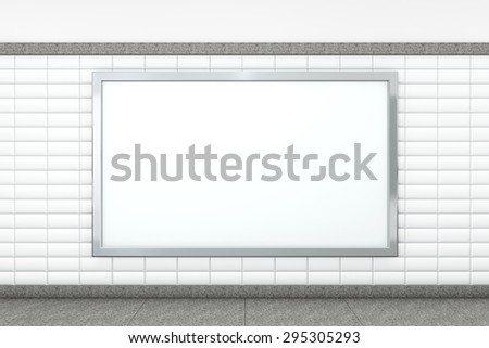 Big Blank Horizontal Poster on Metro Station. 3d rendering - stock photo