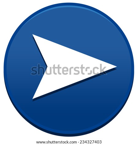 Big blue arrow button isolated on white background - stock photo
