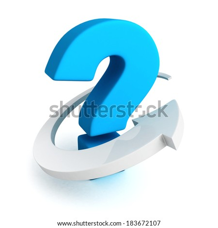 Big blue question mark with white arrow around. 3d render illustration - stock photo