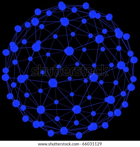 big blue sphere in the lattice with balls - stock photo