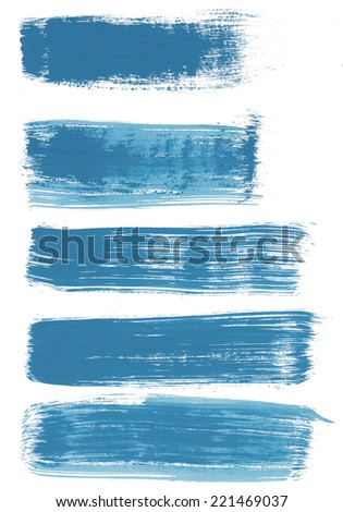 Big blue watercolor banners on white background. Grunge texture. - stock photo