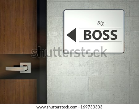 Big boss sign hanging near office door - stock photo